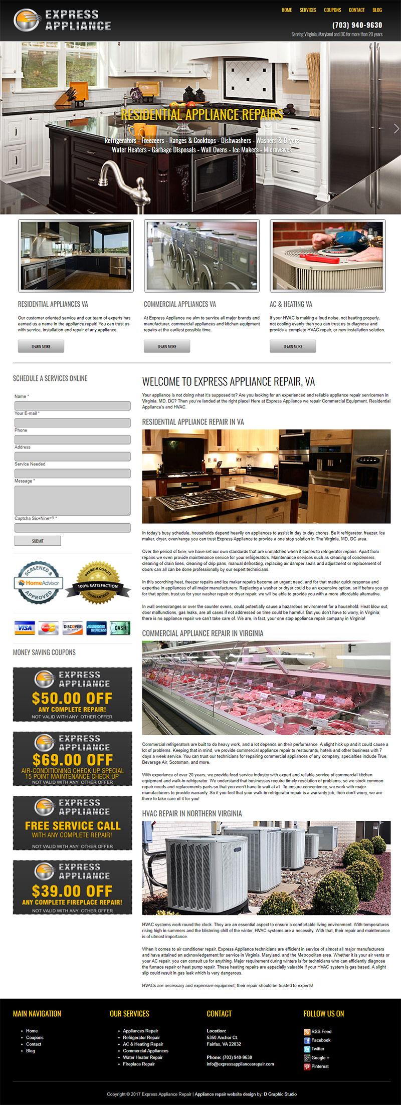 Appliances Repair Web Design