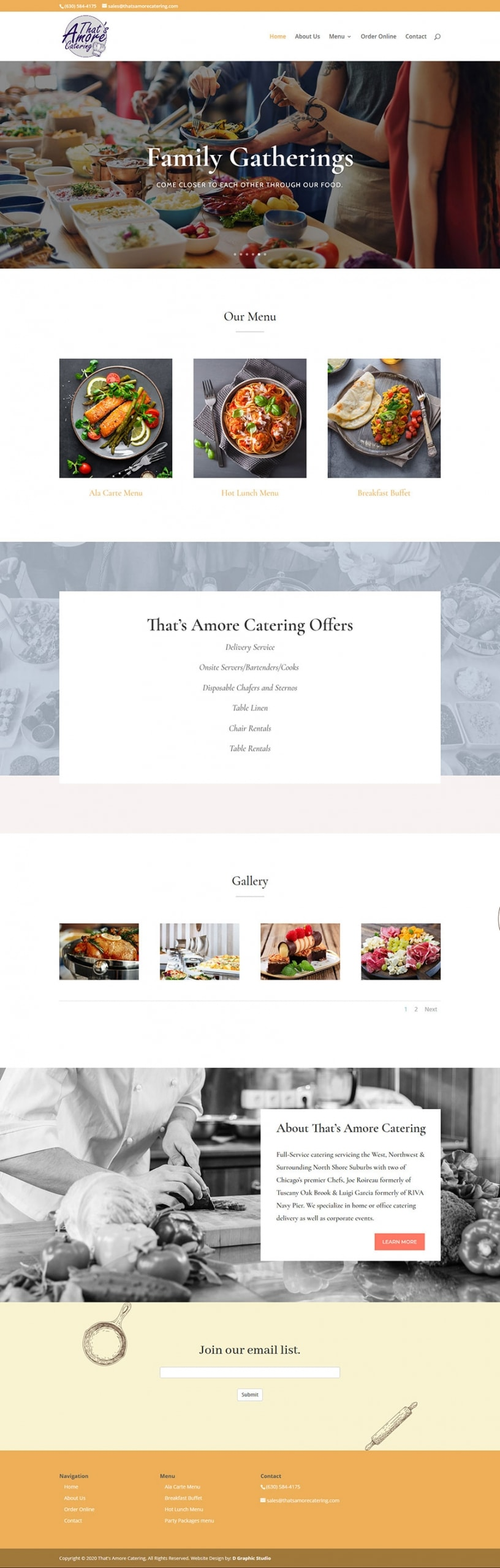 Catering Web Design Services